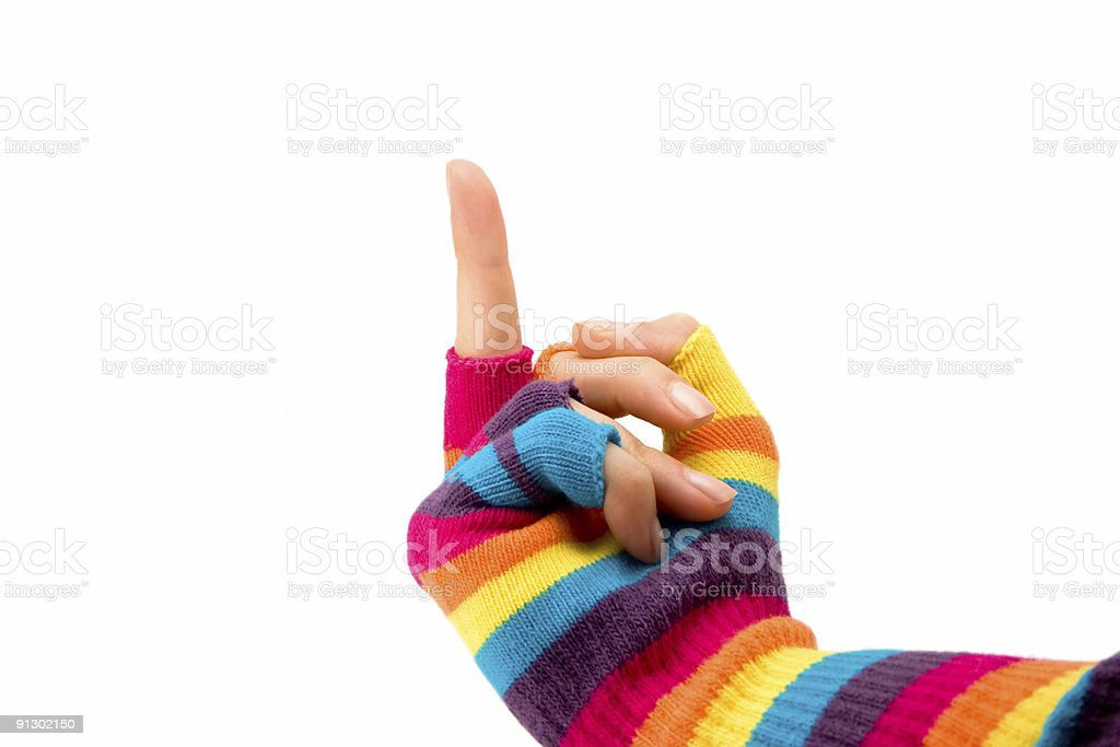 middle finger gesture in woolen gloves royalty-free stock photo