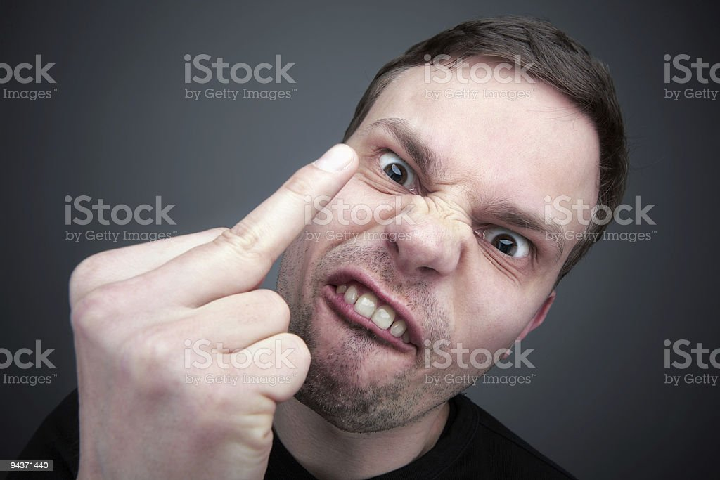 Middle finger gesture royalty-free stock photo
