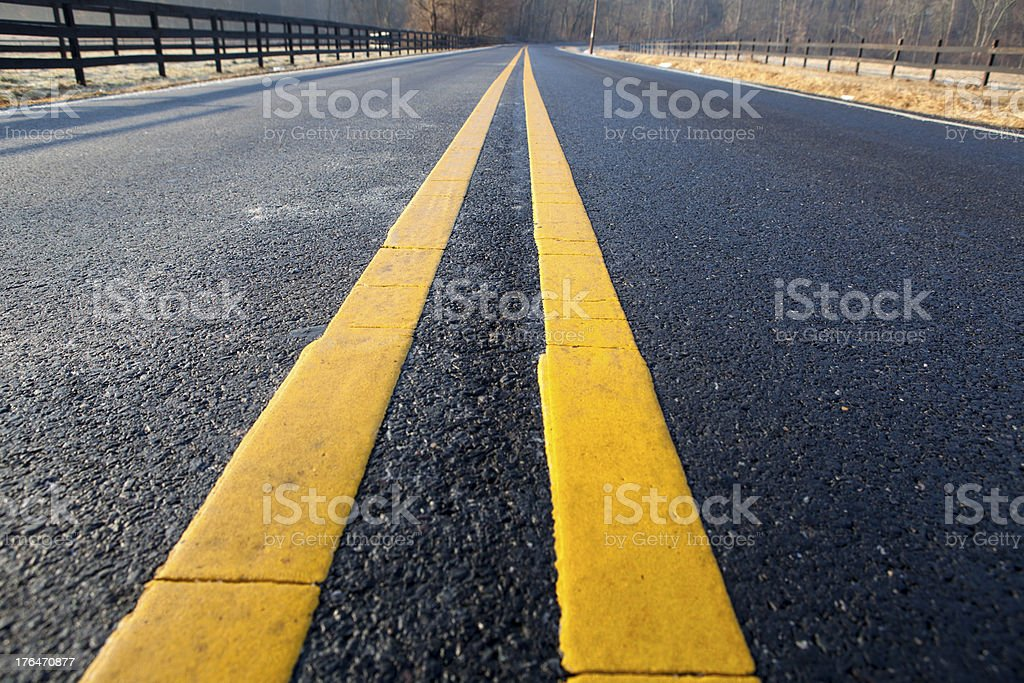 Middle of a Newly Paved Road royalty-free stock photo