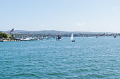 Newport Beach, CA USA - September 8, 2019: Balboa Island ferry view from the middle of the bay.