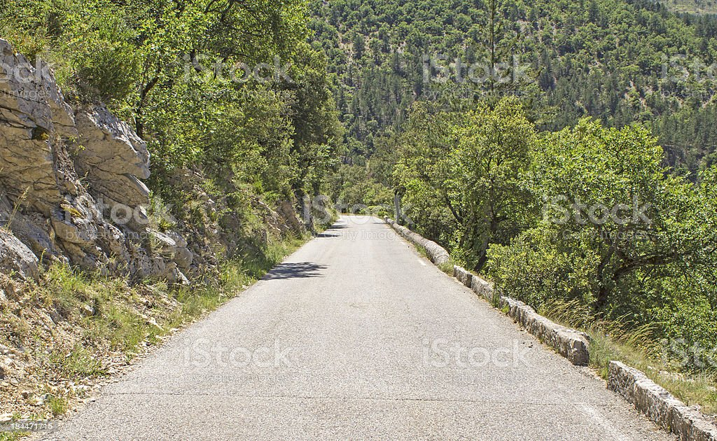 Middle of the Road. Hillside mountains. royalty-free stock photo