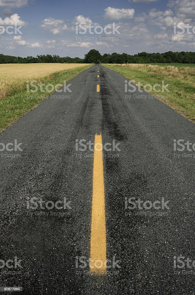 middle of the road stock photo