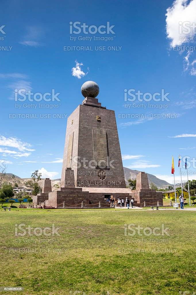 Middle of the World monument in Ecuador stock photo
