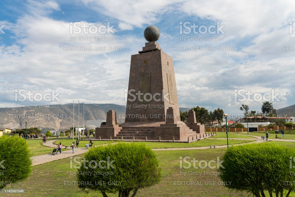 Middle of the world, Quito Quito, Ecuador - February 22, 2019: The monument Middle of the world, Mital del Mundo in San Antonio parish. Monument to the Equator,the exact location of the Equator. 2019 Stock Photo
