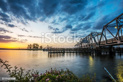 The Middle River Bridge at sunset over the delta. Near Discovery Bay, California. USA. Nikon D810