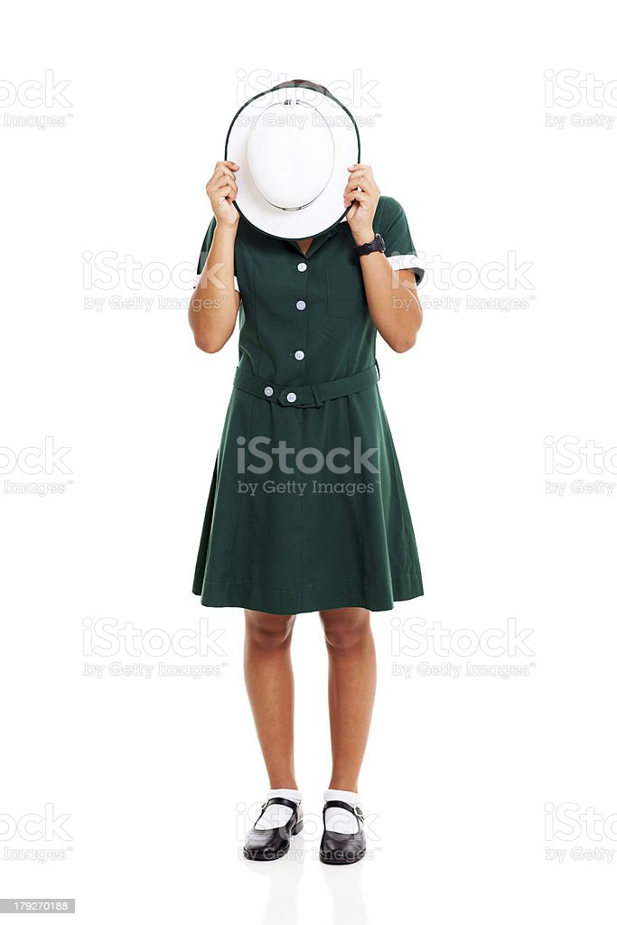 middle school student hiding her face royalty-free stock photo