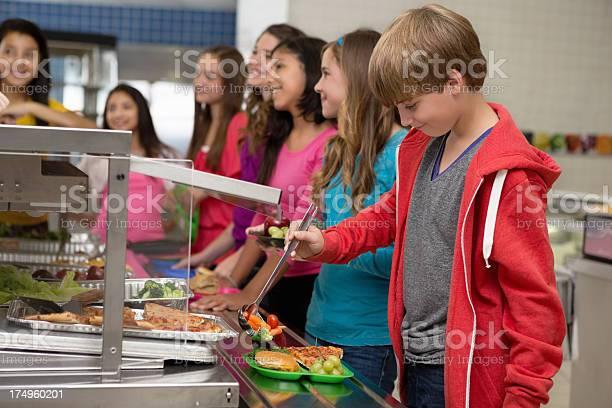 Middle school students choosing healthy food in cafeteria lunch line picture id174960201?b=1&k=6&m=174960201&s=612x612&h=8oygr62fm8u7dvdxue1gow6k1emdlazs gmgx9pg qi=