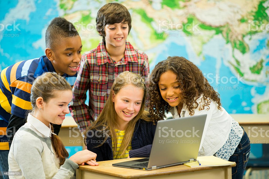 Middle School Students stock photo