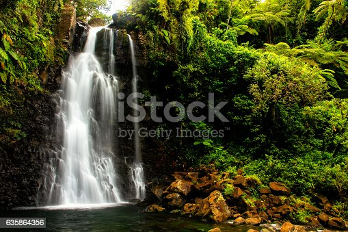 Middle Tavoro Waterfalls in Bouma National Heritage Park on Taveuni Island, Fiji. Taveuni is the third largest island in Fiji.