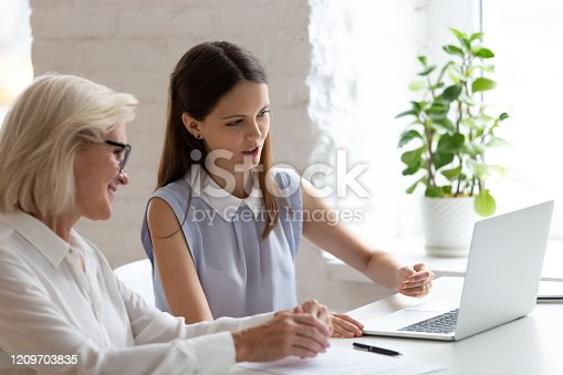 926404274 istock photo Middle-aged and young affiliates learning new corporate program 1209703835