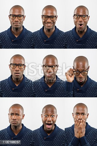 Middle-Aged bald African descent black man with glasses making facial expressions montage of 9 pictures on a white background.
