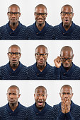 istock Middle-Aged bald African descent black man with glasses making facial expressions 1132168237