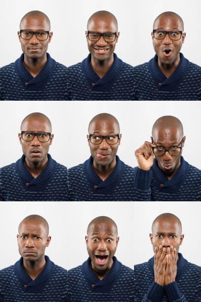 Mittelalterin kahle afrikanische Abstammung schwarzer Mann mit Brille, die Gesichtsausdrücke macht – Foto