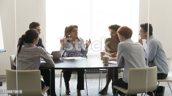 istock Middle-aged businesswoman speaking at diverse group negotiations at conference table 1139873818