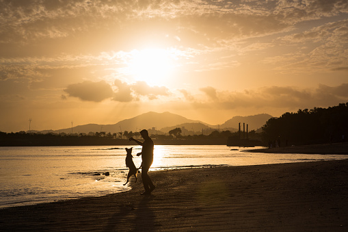 A middle-aged man and his dog, silhouetted by the golden setting sun while playing on the beach in Casco Antiguo, the old town of Panama City.