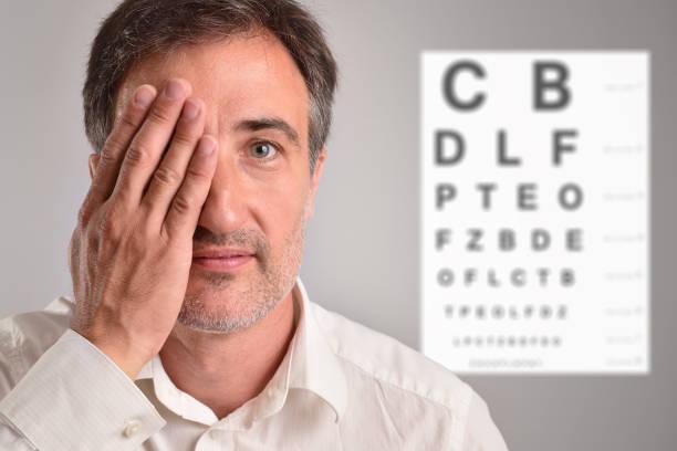 Hombre de mediana edad que cubre un ojo para la tabla de Letras de revisión óptica - foto de stock
