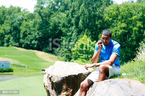 598157464 istock photo Middle-aged man talking on a cellphone 803131352
