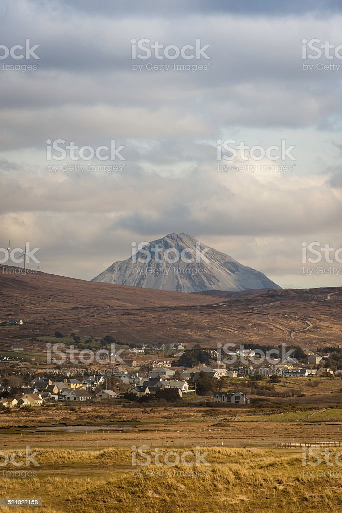 Middlebeg in Donegal with Errigal in the background stock photo