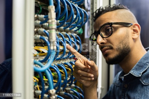 istock Middle-eastern network engineer checking cables 1153227344
