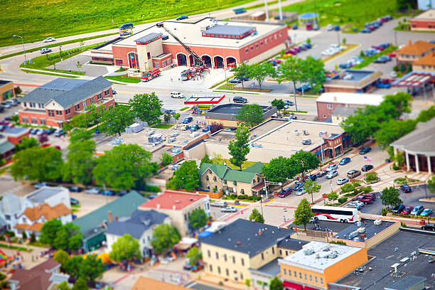 Middleton, Wisconsin. Aerial, tilt-shift photo stock photo