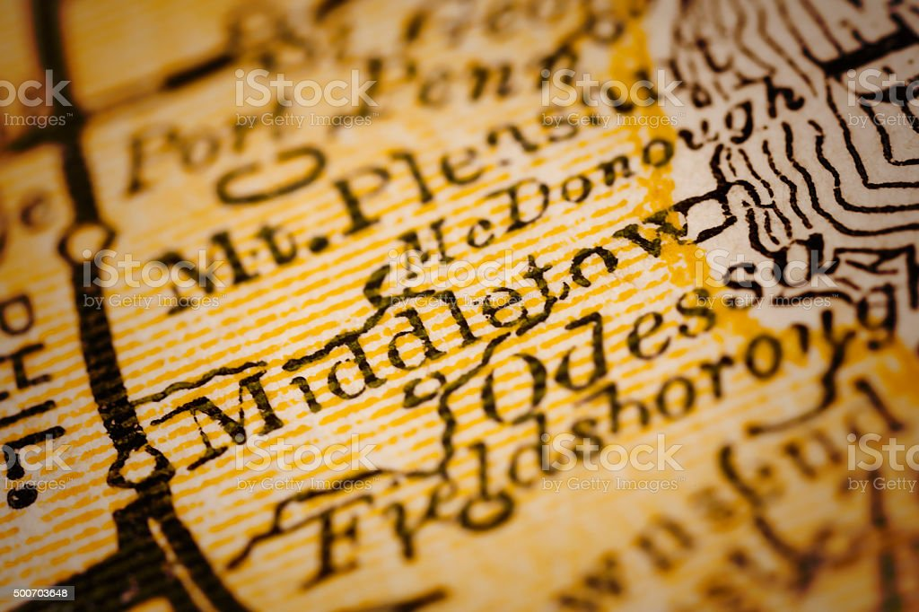 Middletown, Delaware on an Antique map stock photo