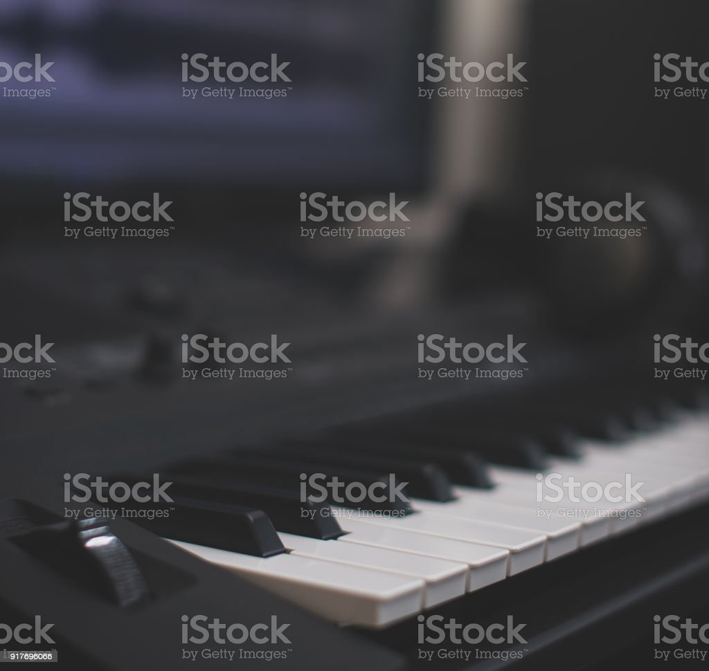 Midi Keyboard And Pc With Music Software Concept Of Home Music