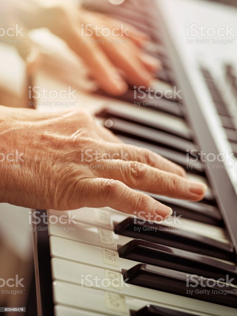 Midi Keyboard Or Electronic Piano And Playing Child Hands