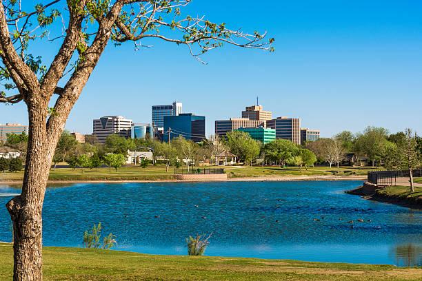 Midland Texas skyline cityscape and lake stock photo