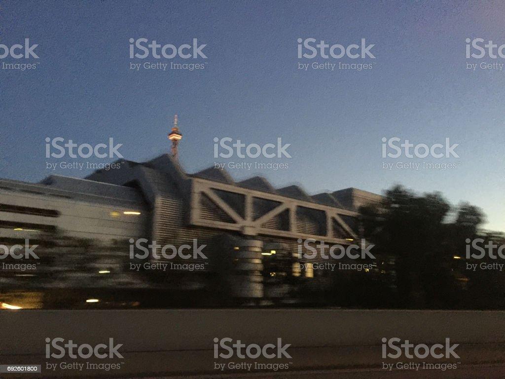 Midnight Berlin Funkturm stock photo