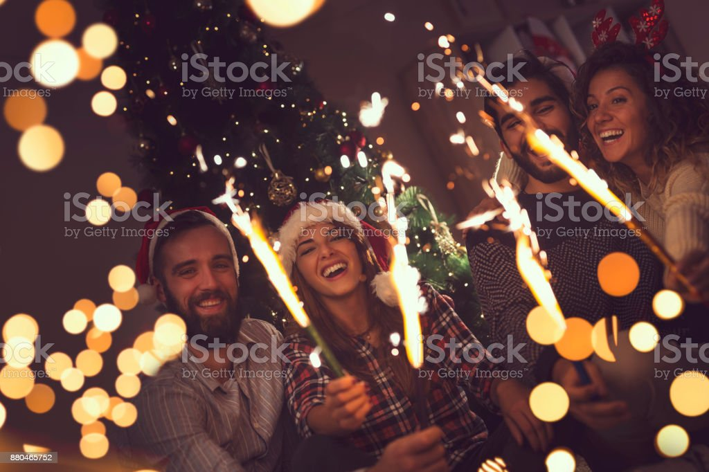 Midnight fireworks stock photo