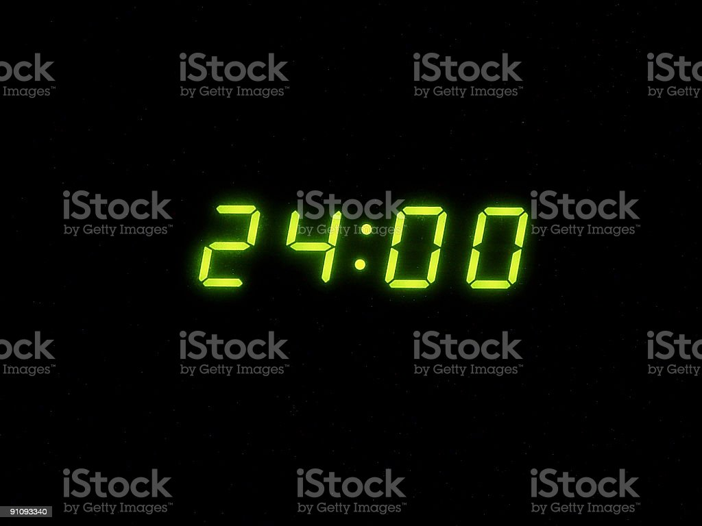 Midnight hour (digital time) stock photo