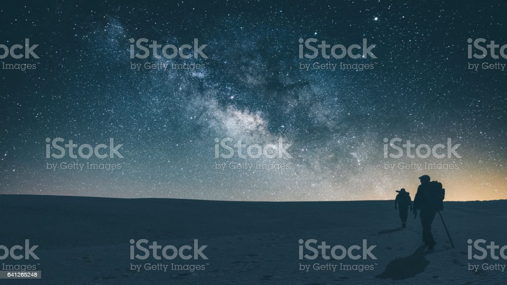Midnight journey across White Sands National Park stock photo
