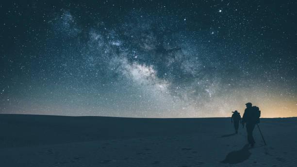 Midnight journey across White Sands National Park stock photo