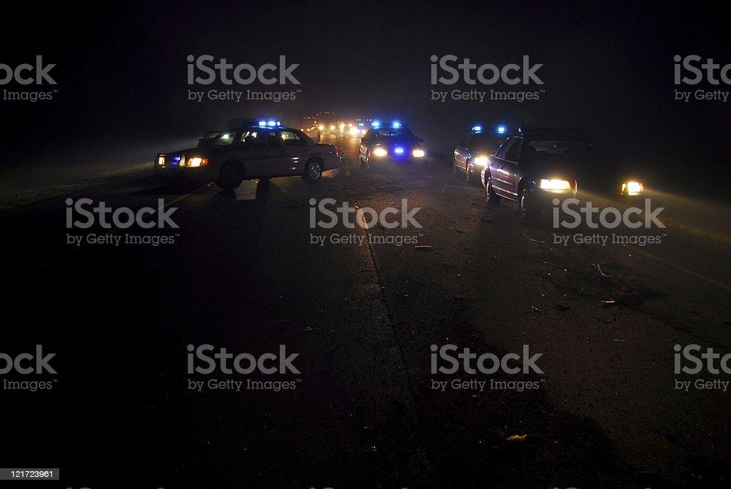 Midnight Police Blockade royalty-free stock photo
