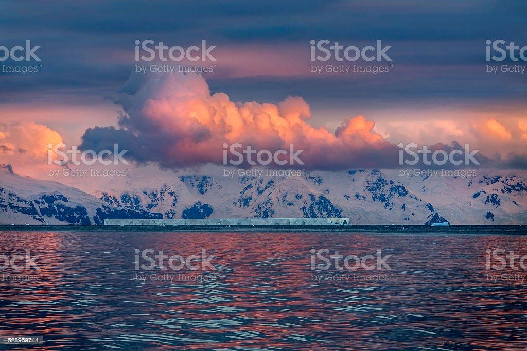 Midnight Sun - Drake Passage - Antarctica stock photo