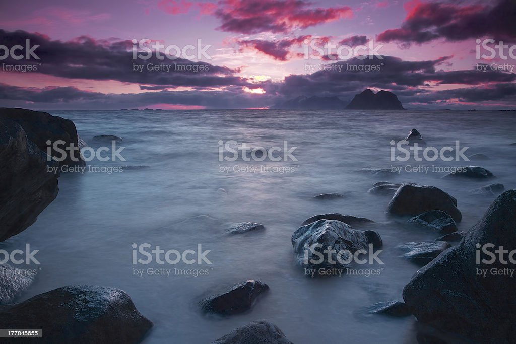 Midnight sun in Norway royalty-free stock photo