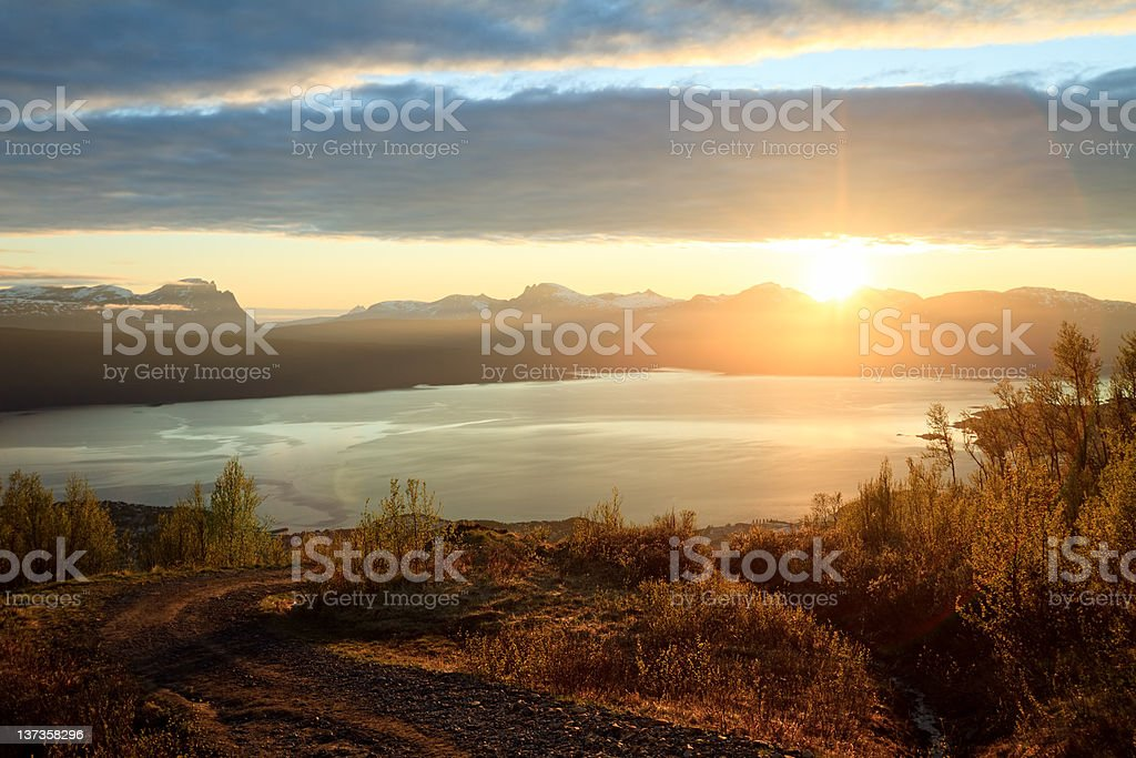 Midnight Sun in  Ofotfjord, Narvik, Norway royalty-free stock photo