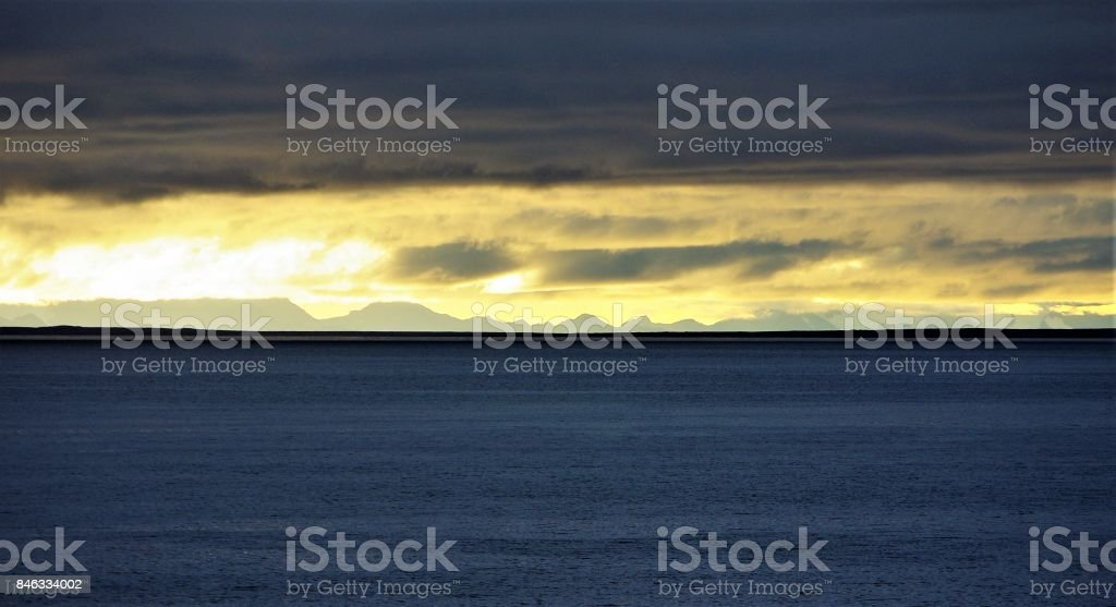 Midnight Sun over the Arctic Ocean near the Svalbard Archipelago at 85 Degrees North stock photo