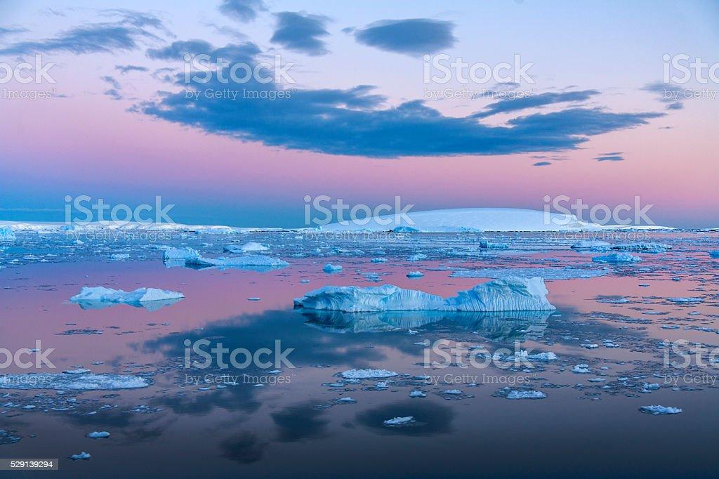 Midnight Sun - Weddell Sea - Antarctica stock photo