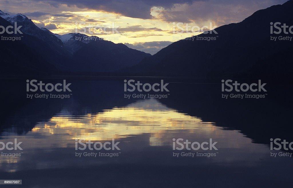 Midnight Sunset near Haines, Alaska stock photo