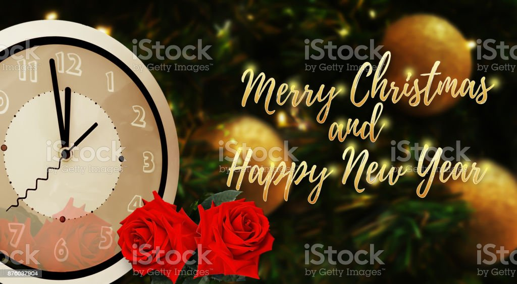 midnight time of merry christmas and happy new year golden font with two red roses on