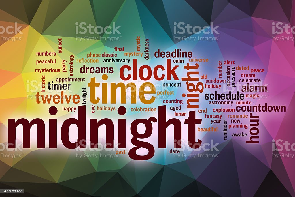 Midnight Word Cloud With Abstract Background Stock Photo
