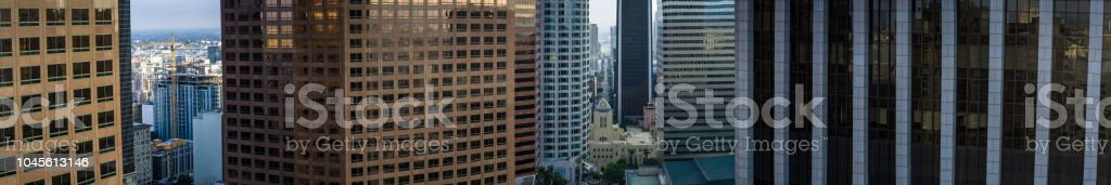 Midpoint of Office Building Skyscrapers - Aerial Panorama stock photo