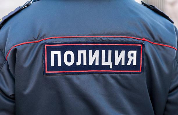 Bauchgegend der russischen Polizisten in uniform – Foto