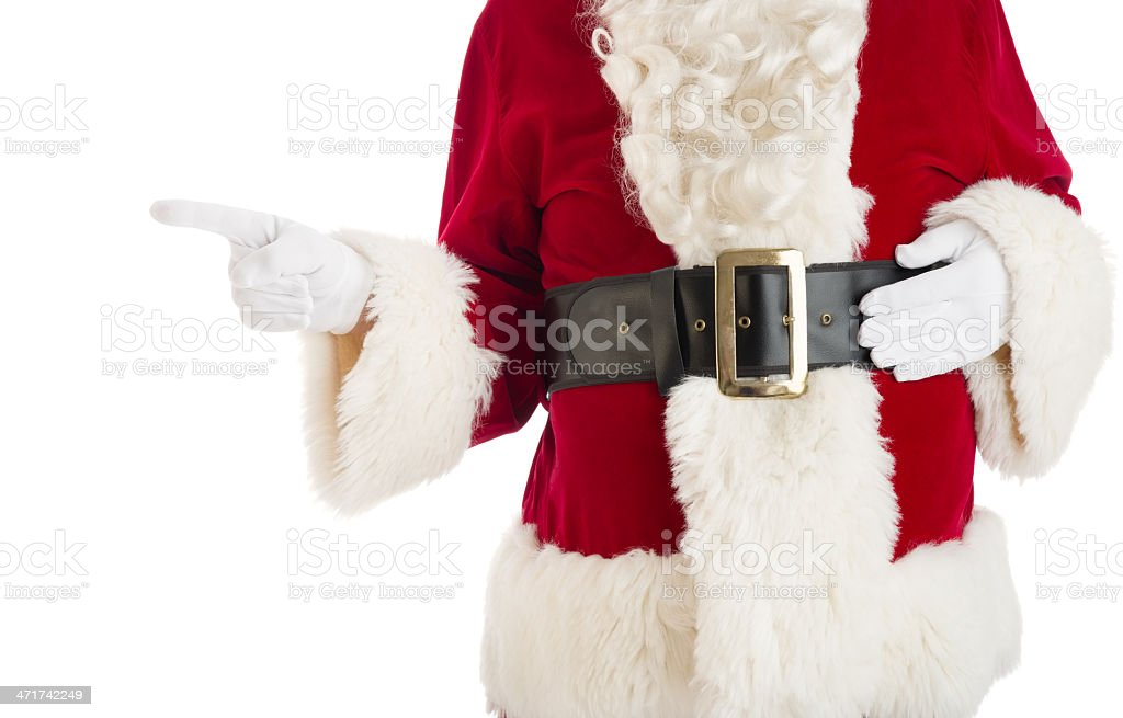 Midsection Of Santa Claus Pointing royalty-free stock photo
