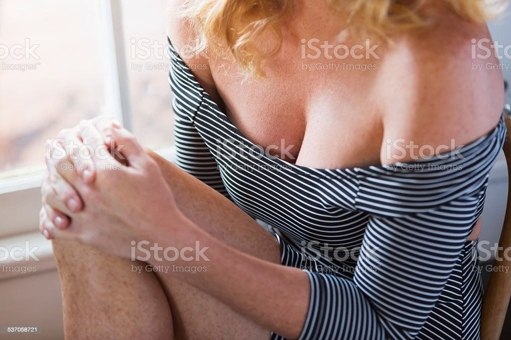 Midsection of sexy blond woman stock photo
