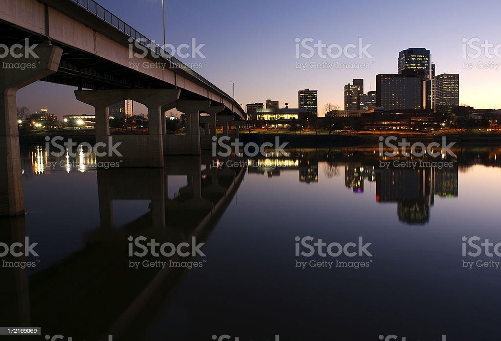 Midsize City Evening Skyline stock photo