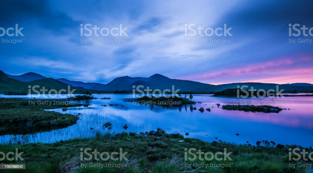 Midsummer at Lochan na h'achlaise stock photo
