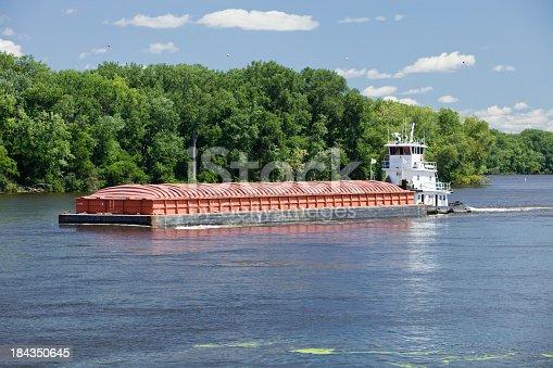 istock Midsummer Mississippi River Barge 184350645