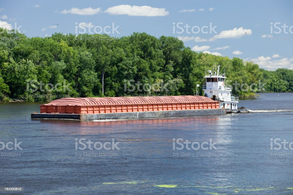 Midsummer Mississippi River Barge stock photo